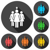 Group of three women icons set with long shadow Stock Image