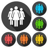Group of three women icons set Stock Image