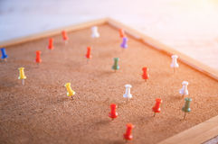Group of thumbtacks pinned on corkboard Royalty Free Stock Images