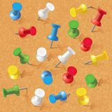 Group of thumbtacks pinned on corkboard. Front view. Vector illustration. Set Stock Photography