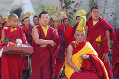 Group of Tibetan monks perform a funeral ritual Stock Image