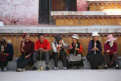A group of tibetan people in lhasa Royalty Free Stock Photo