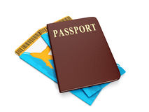Group ticket and passport Royalty Free Stock Photos