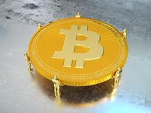 Group of tiny golden men carry a huge golden bitcoin. On silver wet floor 3D illustration Stock Photos