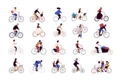 Group of tiny people riding bikes on city street during festival, race or parade. Collection of men and women on. Bicycles isolated on white background. Colored stock illustration