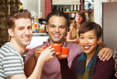Group Toasting in Cafe Stock Photography