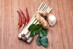 Group of tomyum (Thai food) seasoning ingredients. On wood background Royalty Free Stock Image