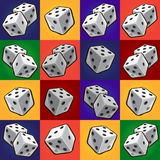 Group tool set of combinations of poker dice. Sketch for stickers, card, seamless texture for wrapping paper on theme of royalty free illustration