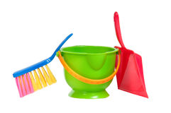 Group of tools for cleaning(dustpan, bucket,brush) Royalty Free Stock Photo