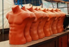Group of torso dummies. Used to dress up with clothes and fashion accessories stock images