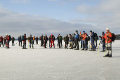 Group of tour skaters taking brake Royalty Free Stock Photo