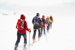Group touring skiers Stock Image