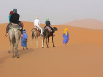 Group of tourist on camels. A view on a group of tourists on camels trekking in morocco's dunes in the erg chebbi desert by sunset Stock Photo