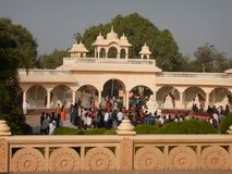 People Visiting Anand Vihar at Shegaon-4. A group of tourist and common people visiting an architectural wonder in Indian village Royalty Free Stock Image