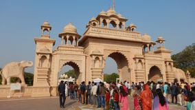People Visiting Anand Vihar at Shegaon-3. A group of tourist and common people visiting an architectural wonder in Indian village Stock Photos