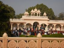 People Visiting Anand Vihar at Shegaon-5. A group of tourist and common people visiting an architectural wonder in Indian village Royalty Free Stock Photography