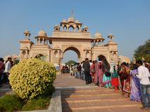 People Visiting Anand Vihar at Shegaon-6. A group of tourist and common people visiting an architectural wonder in Indian village Royalty Free Stock Photography