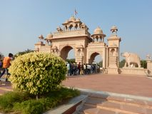 People Visiting Anand Vihar at Shegaon-9. A group of tourist and common people visiting an architectural wonder in Indian village Royalty Free Stock Photography