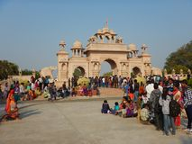 People Visiting Anand Vihar at Shegaon-12. A group of tourist and common people visiting an architectural wonder in Indian village Royalty Free Stock Image