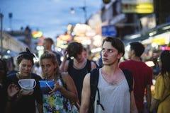 Group of tourist enjoy bucket drinks in Khao San Road Bangkok Thailand walking street Royalty Free Stock Photos