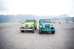 Group of tourist jeep are waiting for their customer at mount Bromo Stock Photography