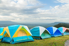 Group of tourist tent on the hills Royalty Free Stock Photography