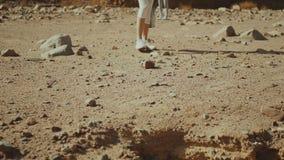 Group of tourist walk along the rock canyon in hot desert. Desert rocks background, Egypt, Sinai, slow motion, full hd