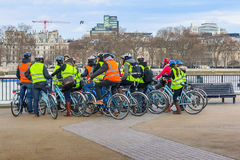 Group of tourists on bikes Royalty Free Stock Images