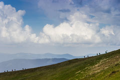 Group of tourists in the Carpathians Stock Image