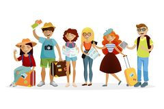 Group of tourists cartoon characters  flat illustration. Young funny people with suitcases are traveling together. Group of tourists cartoon characters  flat Royalty Free Stock Images