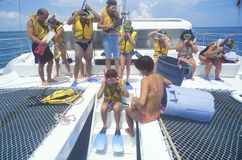 Group of tourists on  Catamaran Stock Images