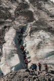 Group of tourists climbing Fox Glacier Stock Image