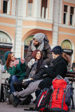 Group Of Tourists Drinking Hot Beverage Outdoors Royalty Free Stock Photo