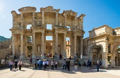 A group of tourists in Ephesus Turkey on April 13, 2015 Stock Photo