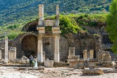 A group of tourists in Ephesus Turkey on April 13, 2015 Royalty Free Stock Photo