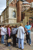 Group of tourists in front of Wawel castle, Krakow, Poland Stock Images