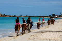 Group of tourists horseback riding on the beach in Antigua Island, royalty free stock photos