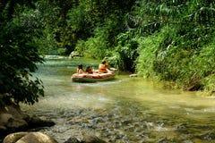 Group of tourists kayaking down the Snir (Hasbani) river Royalty Free Stock Photos
