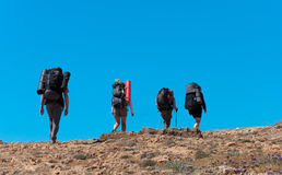 Group of tourists with large backpacks are on road to the sea Stock Image