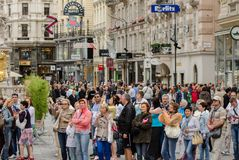 Group of tourists on the main Vienna shopping street stock photos