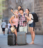 Group of tourists making selfie Stock Images