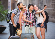 Group of tourists making selfie Stock Image