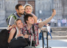 Group of tourists making selfie Stock Photography