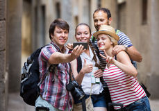 Group of tourists making selfie Royalty Free Stock Images