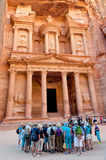Group of tourists near Treasury, Petra, Jordan Stock Image