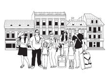 Group tourists people black and white in abstract city street. Stock Image
