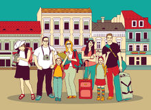 Group tourists people color in abstract city street. Stock Photography