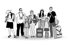 Group tourists people gray scale isolate on white. Stock Images