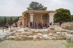 Group of tourists in the ruins of the palace of Knossos Greece, Crete, Royalty Free Stock Image