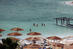 Group of tourists take water treatments at the Dead Sea royalty free stock image